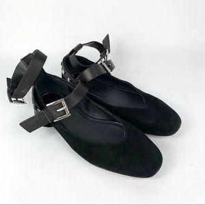 Rebecca Minkoff Black Suede Flats Womens Size 7.5